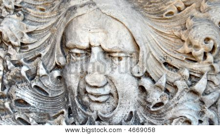 Carved Head In Stone