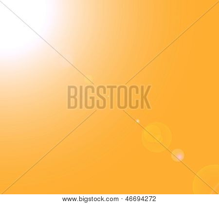 Sun lens flare on a yellow background poster
