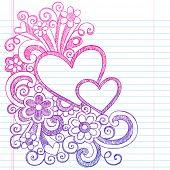 Love Hearts Frame Border Valentine's Day Back to School Sketchy Notebook Doodles- Illustration Design on Lined Sketchbook Paper Background poster