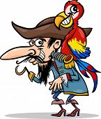 Cartoon Illustration of Funny Pirate or Corsair with Hook and Parrot poster