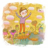 Zodiac sign - scorpio . Part of a large colorful cartoon calendar. Cute boy and scorpion in pastel colors. Spring concept illustration poster