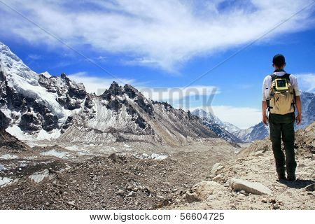 Rear view of Hiker standing in the Khumbu Valley with the Himalayan Mountain Range in background near Gorak Shep in the Sagarmatha (Mount Everest) National Park in Nepal poster