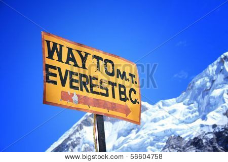 Signpost to the Mount Everest Base Camp, Nepal