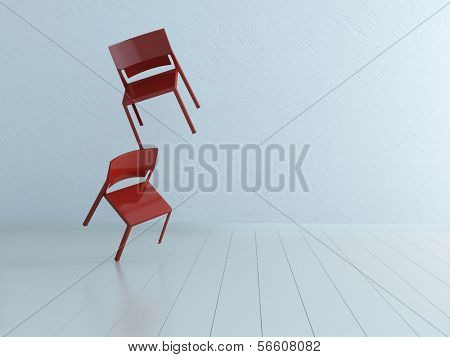 Concept picture of two balancing chairs