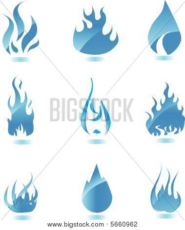 Blue glossy fire icon. Big set