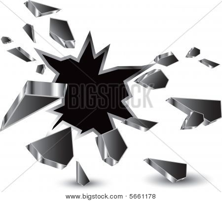 isolated hole with broken pieces flying everywhere poster