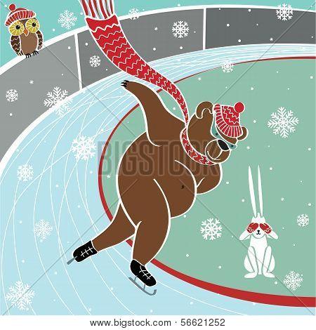 One brown bear runs sprint skating at the stadium. Humorous illustration poster