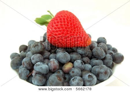 Strawberry on blueberries