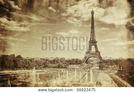 Vintage Sepia Picture of Tour Eiffel (Eiffel Tower) in Paris poster