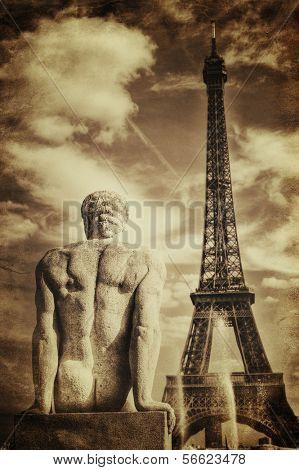 Vintage Sepia Picture of Tour Eiffel (Eiffel Tower) in Paris poster