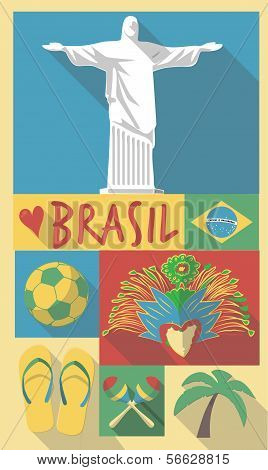 vector illustration set of famous cultural symbols of brazil on a poster or postcard poster