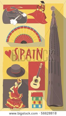 vector illustration set of famous cultural symbols of spain on a poster or postcard