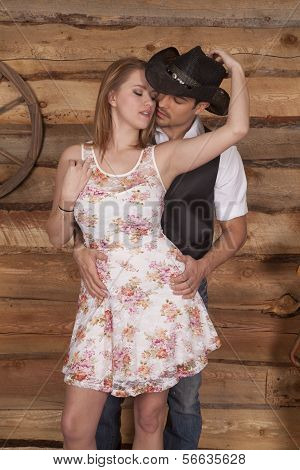 Couple Western Her In Front Eyes Closed Faces Together