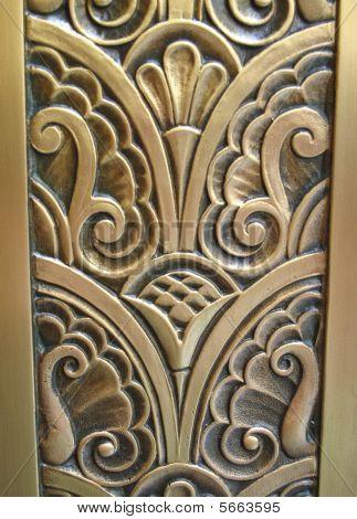 Floral Design Carved In Brass