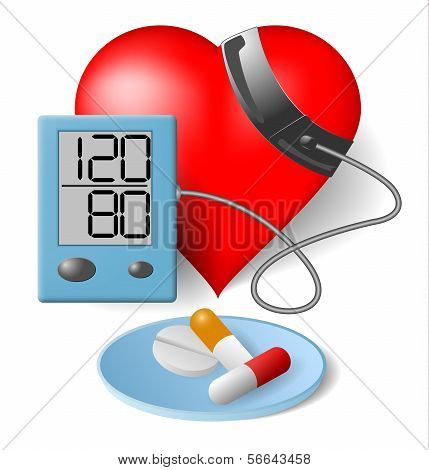 Heart - Blood Pressure Monitor And Pills
