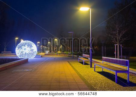 City center of Pruszcz Gdanski with Christmas baubles, Poland poster
