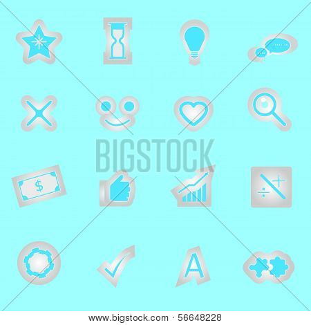 Idea Symbol Icons Sticker On Blue Background