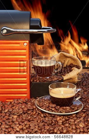 Capsule Coffee Machine With Two Espresso Cups Near Fireplace