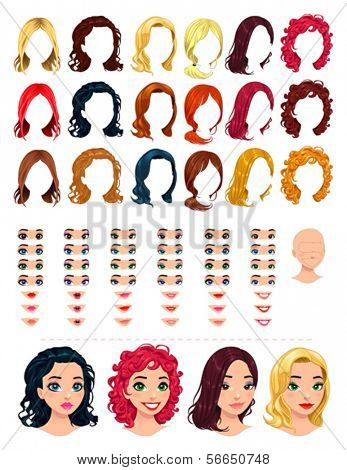 Fashion female avatars. 18 hairstyles, 18 eyes, 18 mouths, 1 head, for multiple combinations. In this image, some previews. Vector file, isolated objects.