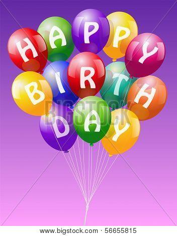Happy Birthday Balloons Pink
