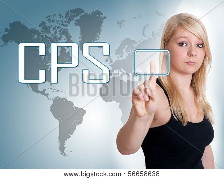 Young woman press digital Cost per Sale button on interface in front of her poster