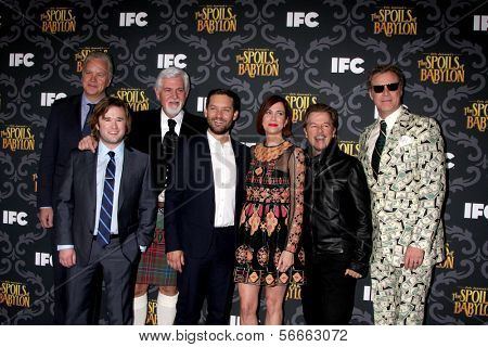 """LOS ANGELES- JAN 7: Tim Robbins, Haley J Osment, Steve Tom, Tobey Maguire, Kristen Wiig, David Spade, Will Ferrell at the """"The Spoils Of Babylon"""" Screening at DGA on January 7, 2014 in Los Angeles, CA"""