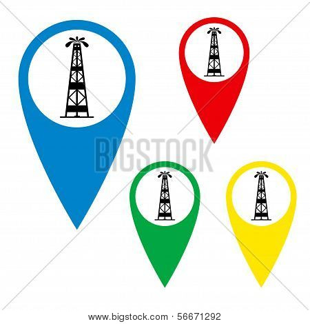 The silhouette of oil fountain on a map marker.