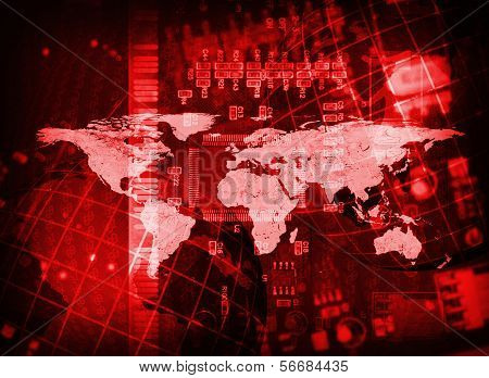 Abstract background: microcircuit and world map