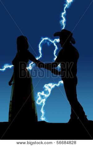 Cowboy Couple Her Try To Leave Silhouette