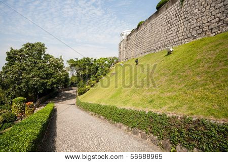 Road lined with stone from Guia Fortress in Macau. China.