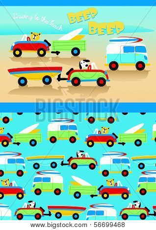 Driving to the beach