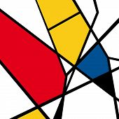Vector of Mondrian masterpieces, geometric art, color doodles, repeating poster