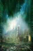 Composition of futuristic city with huge factory covered in dark clouds and smog pollution and matrix effect poster