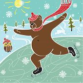 One brown bear is skating on the skating rink in winter. Humorous illustration poster