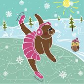 One brown bear is skating on the nature. Winter landscape. Humorous illustration. poster