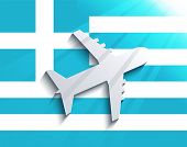 Vector flag with airplane. Travel background. Eps 10 poster