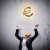 Image of businesswoman with euro symbol. Currency concept poster