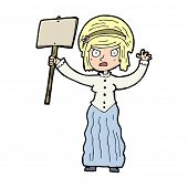 cartoon victorian woman protesting poster