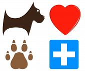 set cartoon veterinary icons for pet help poster