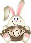 Scalable vectorial image representing a easter bunny with quail eggs in the nest, isolated on white. poster
