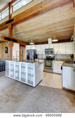 Log Cabin House Interior. Kitchen Room