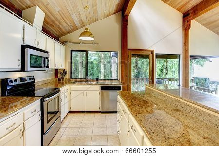 Kitchen Room In Log Cabin House With Walkout Deck