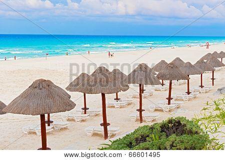 Beach On Caribbean Sea In Cancun, Mexico
