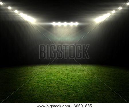 Digitally generated football pitch under bright spotlights poster