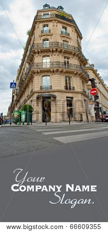 Typical Parisian angled building