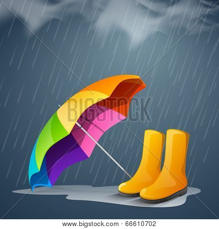Shiny bright colors decorated open umbrella and long boots in under heavy rain.