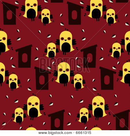 illustrated seamless tiled vector pattern of birds poster