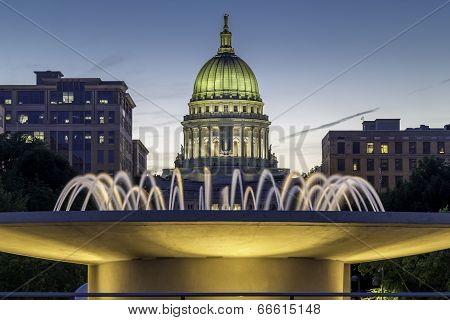 The capital building in Madison Wisconsin at dusk poster