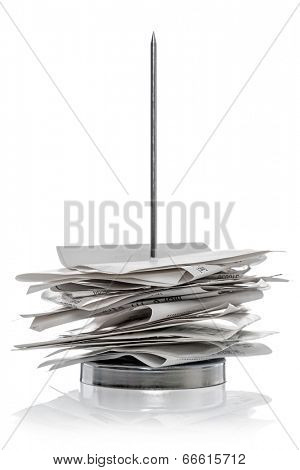 Bill / receipt spike isolated on a white background.