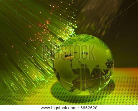 technology earth globe against fiber optic